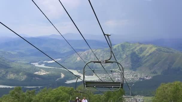 Ski chairlift on Mount Shallow Sinyuha  Altai Republic  Russia