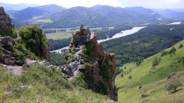 Panorama of Mount Bloody Finger in Altai Krai. Russia.