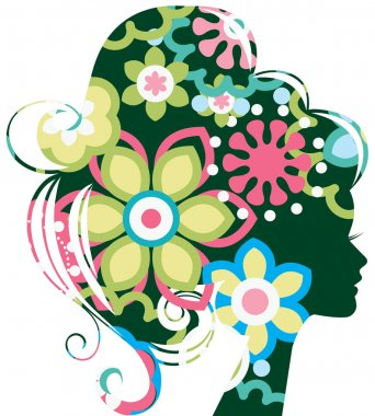 Beautiful woman silhouette with a flowers clip art vector