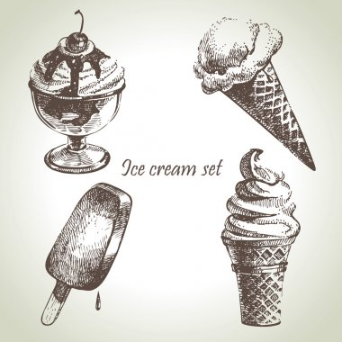 Ice cream set. Hand drawn illustrations
