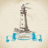 Fotografie Leuchtturm. Hand gezeichnete Abbildung