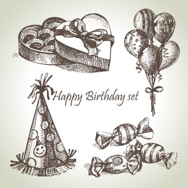 Happy Birthday set, hand drawn illustrations