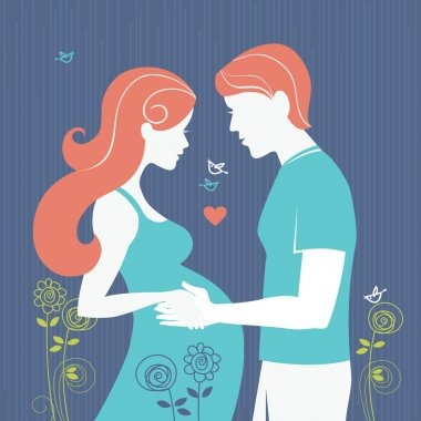 Silhouette of couple. Background with pregnant woman and her husband