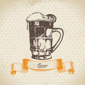 Fényképek Oktoberfest sör vintage háttér. Kézzel rajzolt illustratio