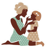 Photo Card of Happy Mothers Day. Beautiful mother silhouette with her daughter