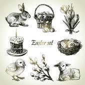 Velikonoční sada. ručně tažené ilustrace