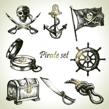 Pirates set. Hand drawn illustrations