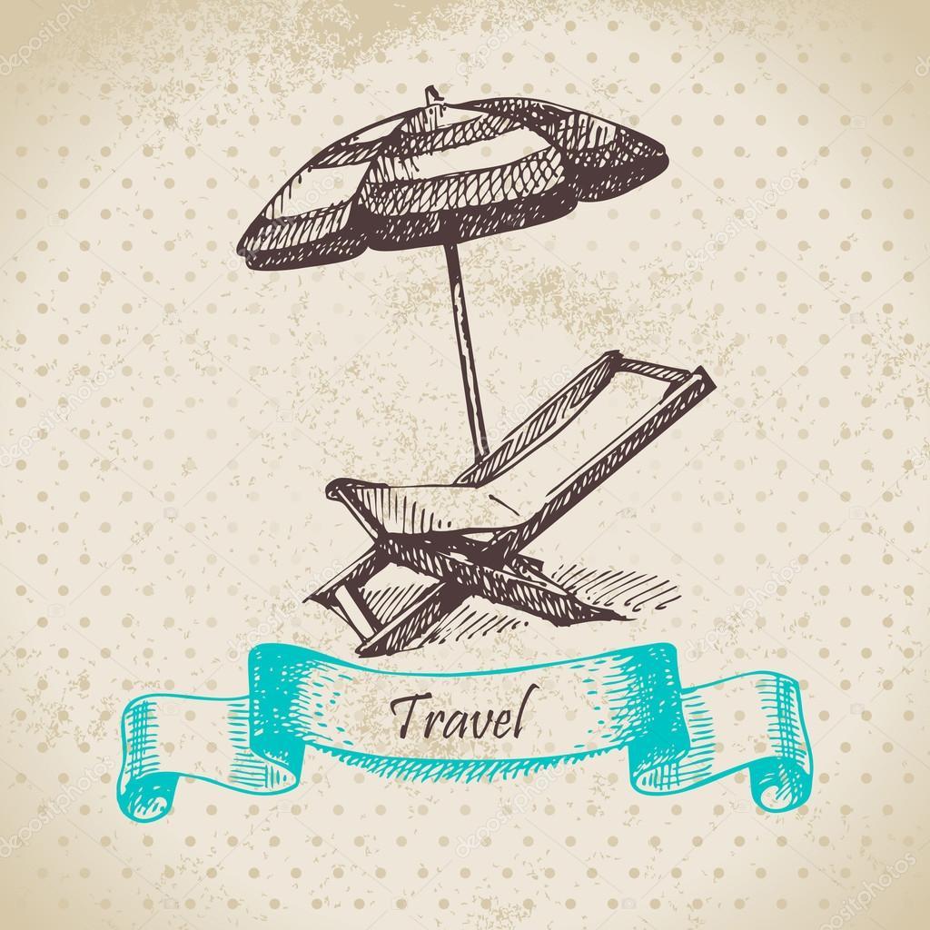 Sessel gezeichnet  Hintergrund mit Strand-Sessel und Sonnenschirm. Hand gezeichnet ...