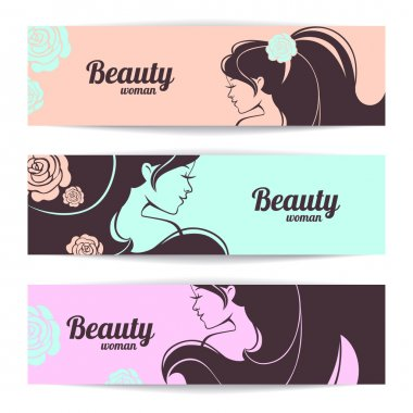 Banners with stylish beautiful woman silhouette in pastel colors clip art vector