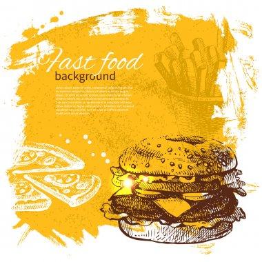 Vintage fast food background. Hand drawn illustration stock vector