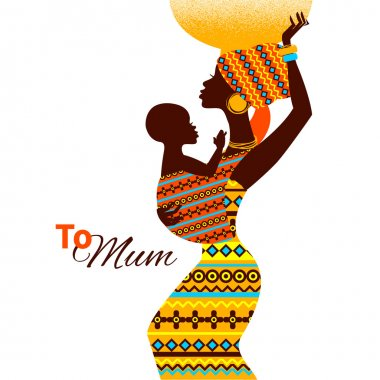Beautiful silhouette of black african mother and baby in retro s