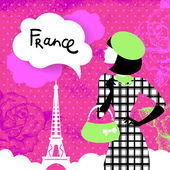 Stylish retro background with shopping woman silhouette in Franc