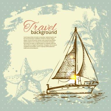 Travel hand drawn vintage tropical design. Splash blob retro bac