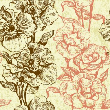 Vintage seamless floral pattern. Hand drawn illustration