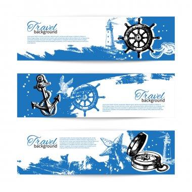Banner set of travel vintage backgrounds. Sea nautical design. H