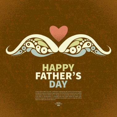 Happy Father's Day vintage retro card. Abstract silhouette of mu