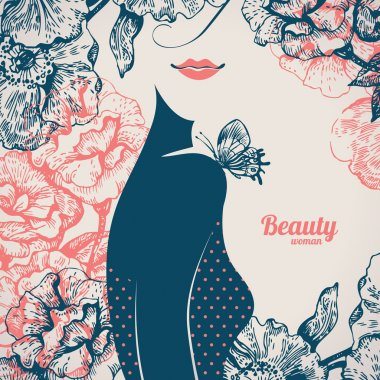 Beautiful girl silhouette. Vintage retro background with hand dr