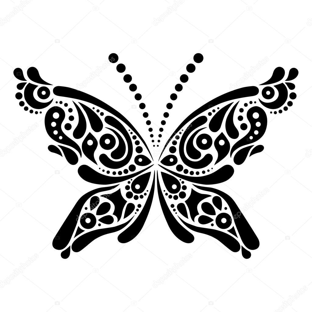 Piękny Motyl Tatuaż Artystyczny Wzór W Kształcie Motyla