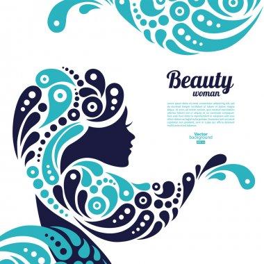 Beautiful woman silhouette. Tattoo of abstract girl hair. Marine