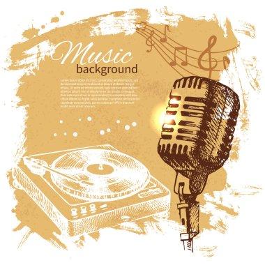 Music vintage background. Hand drawn illustration