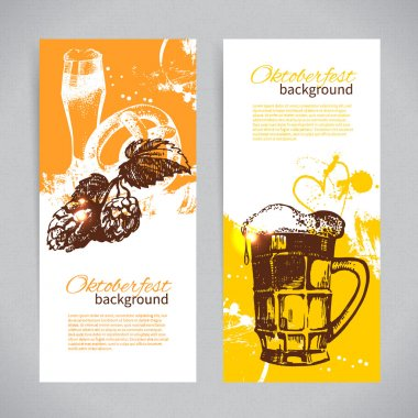 Banners of Oktoberfest beer design. Hand drawn illustrations