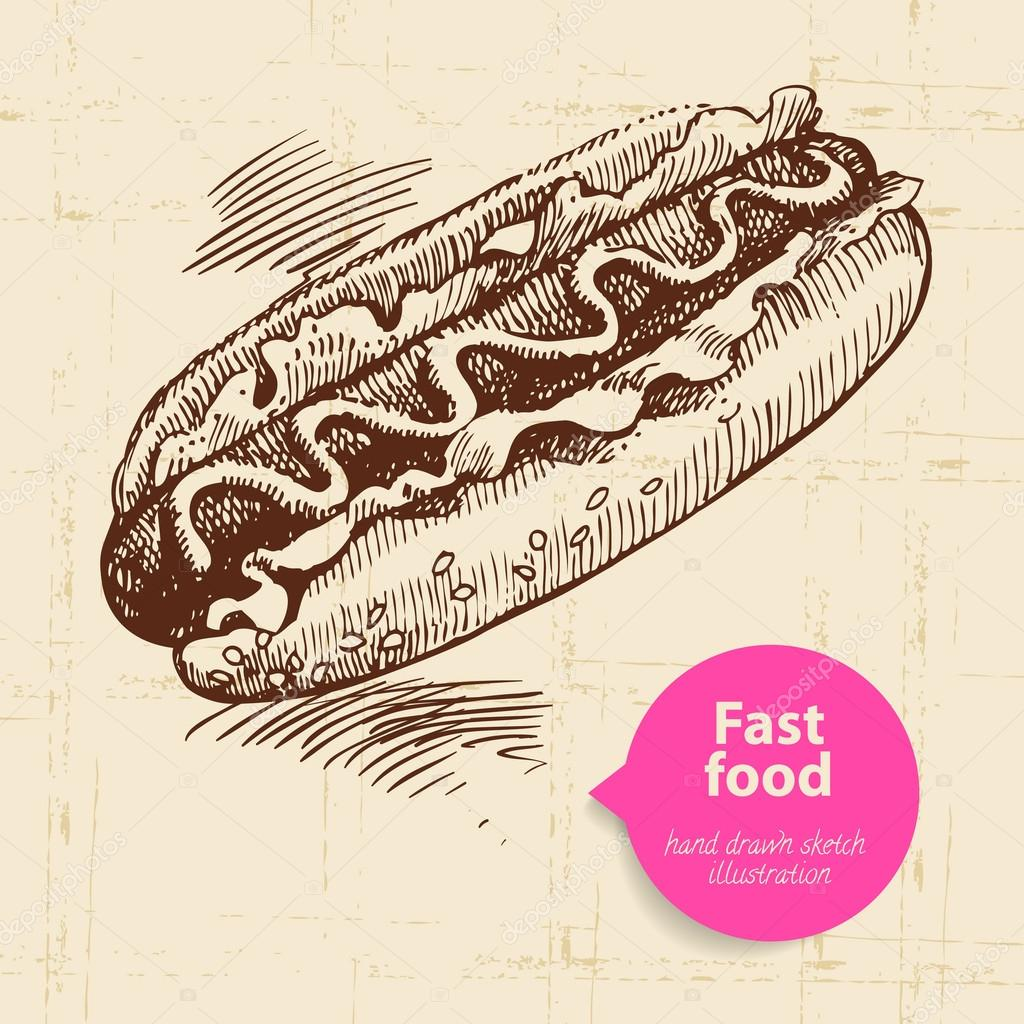 vintage fast food background with color bubble hand drawn