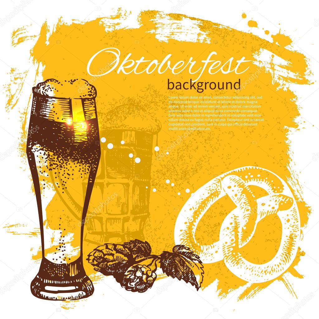 Oktoberfest vintage background. Hand drawn illustration