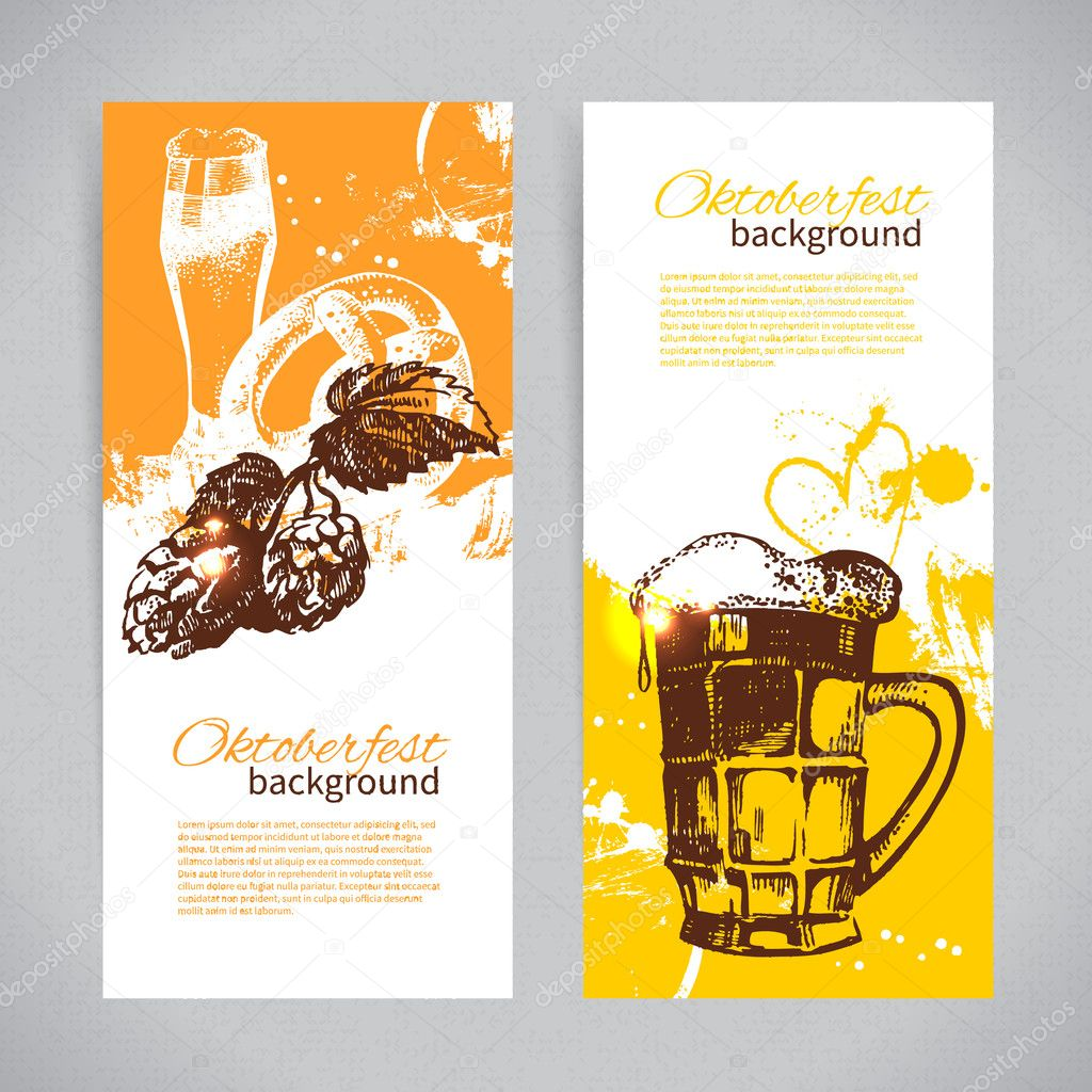 Banners of Oktoberfest beer design. Hand drawn illustrations