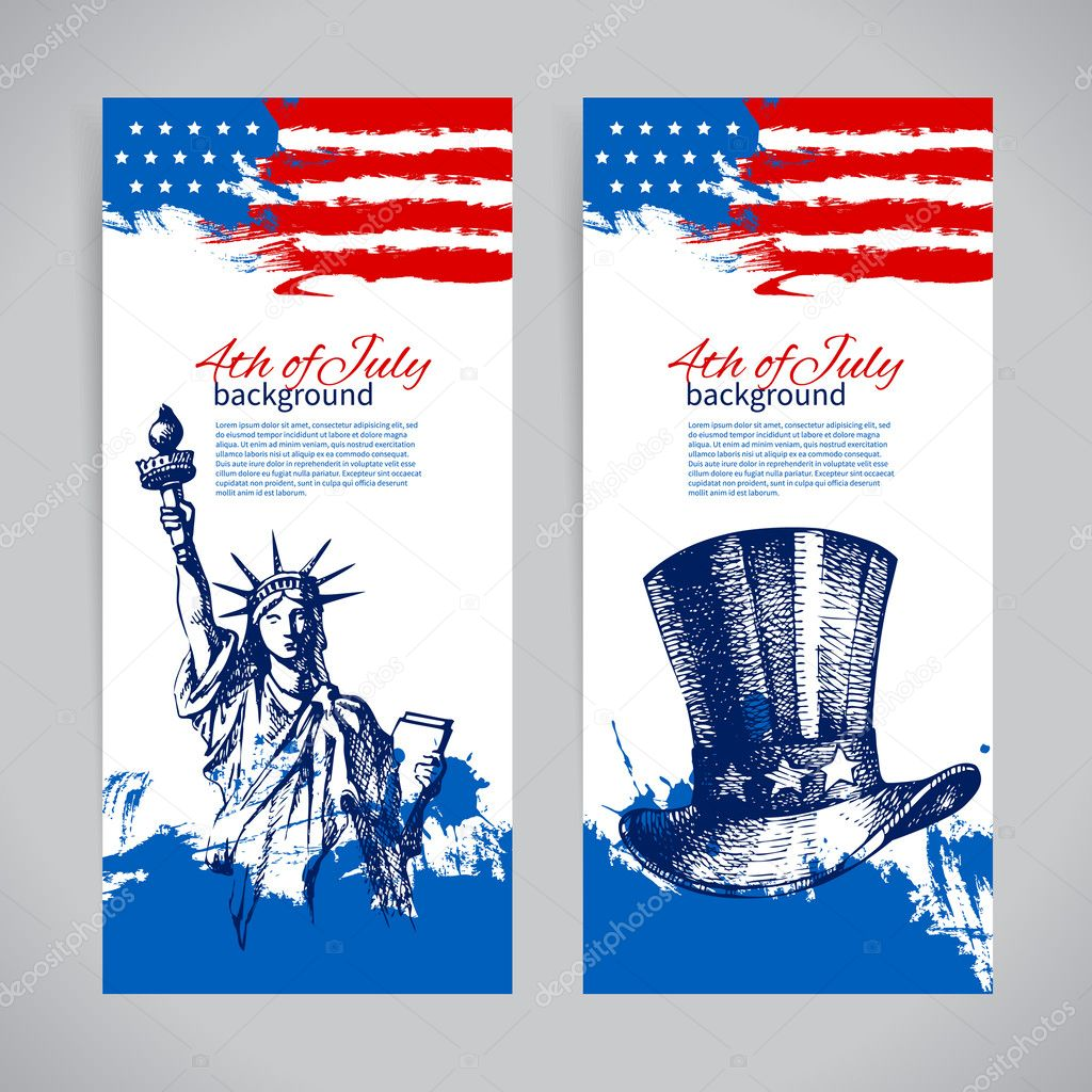 Banners of 4th July backgrounds with American flag. Independence Day