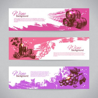 Banners of wine vintage background. Hand drawn illustrations