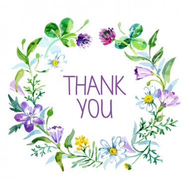 Thank you card with watercolor floral bouquet. Vector illustrati