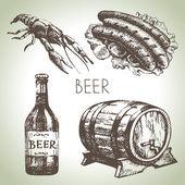 Photo Oktoberfest set of beer. Hand drawn illustrations
