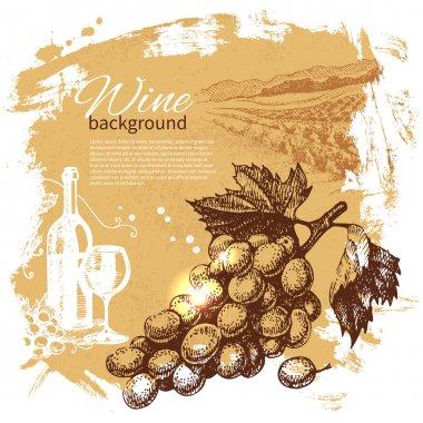 Wine vintage background. Hand drawn illustration. Splash blob re