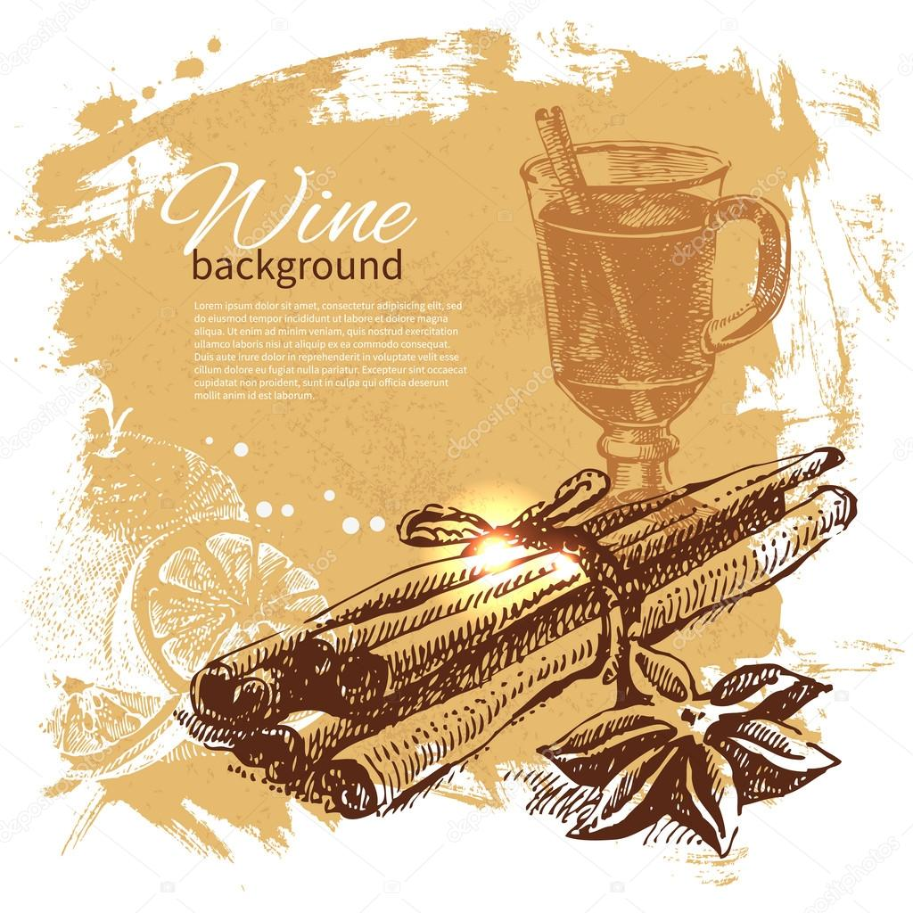 Mulled vintage background. Hand drawn illustration
