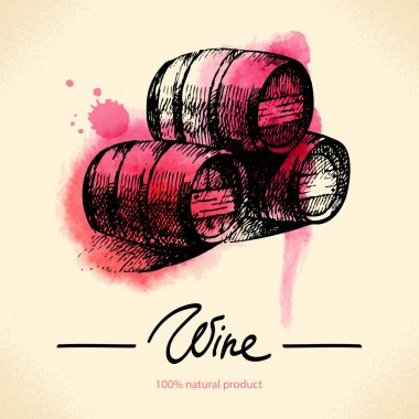 Wine vintage background. Watercolor hand drawn illustration