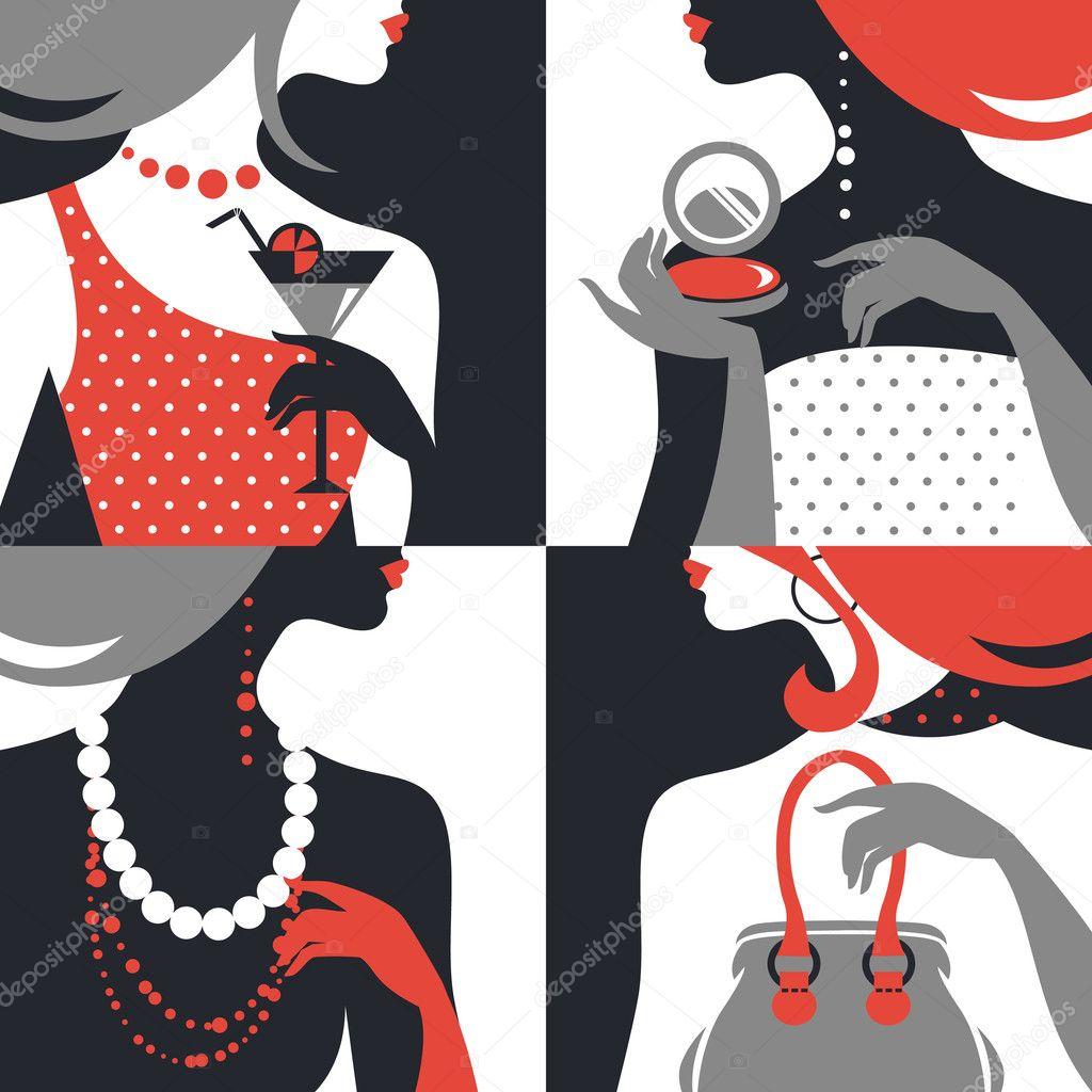 Set of beautiful fashion woman silhouettes. Flat design