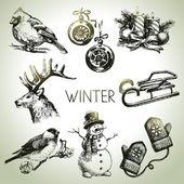 Photo Hand drawn winter Christmas set