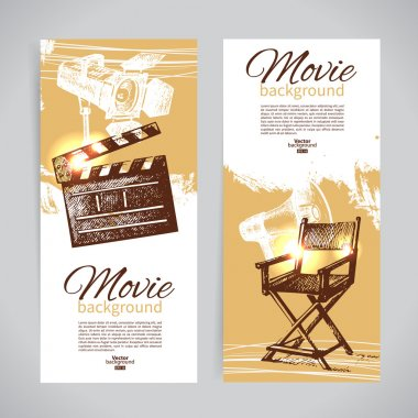 Set of cinema banners with hand drawn sketch illustrations