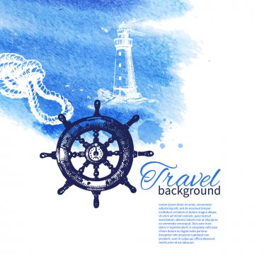 Travel vintage background. Sea nautical design.