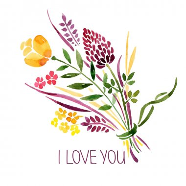 Love card with watercolor floral bouquet. Vector illustration