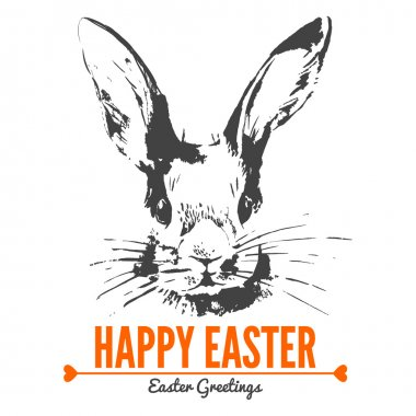 Card with sketch Easter rabbit.