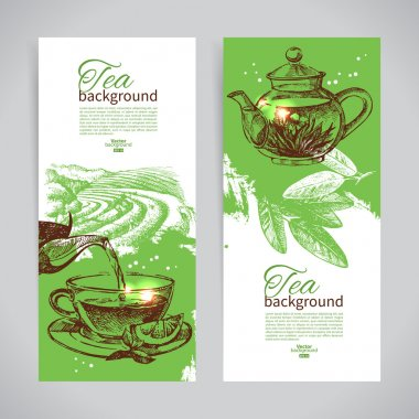 Set of tea vintage banners