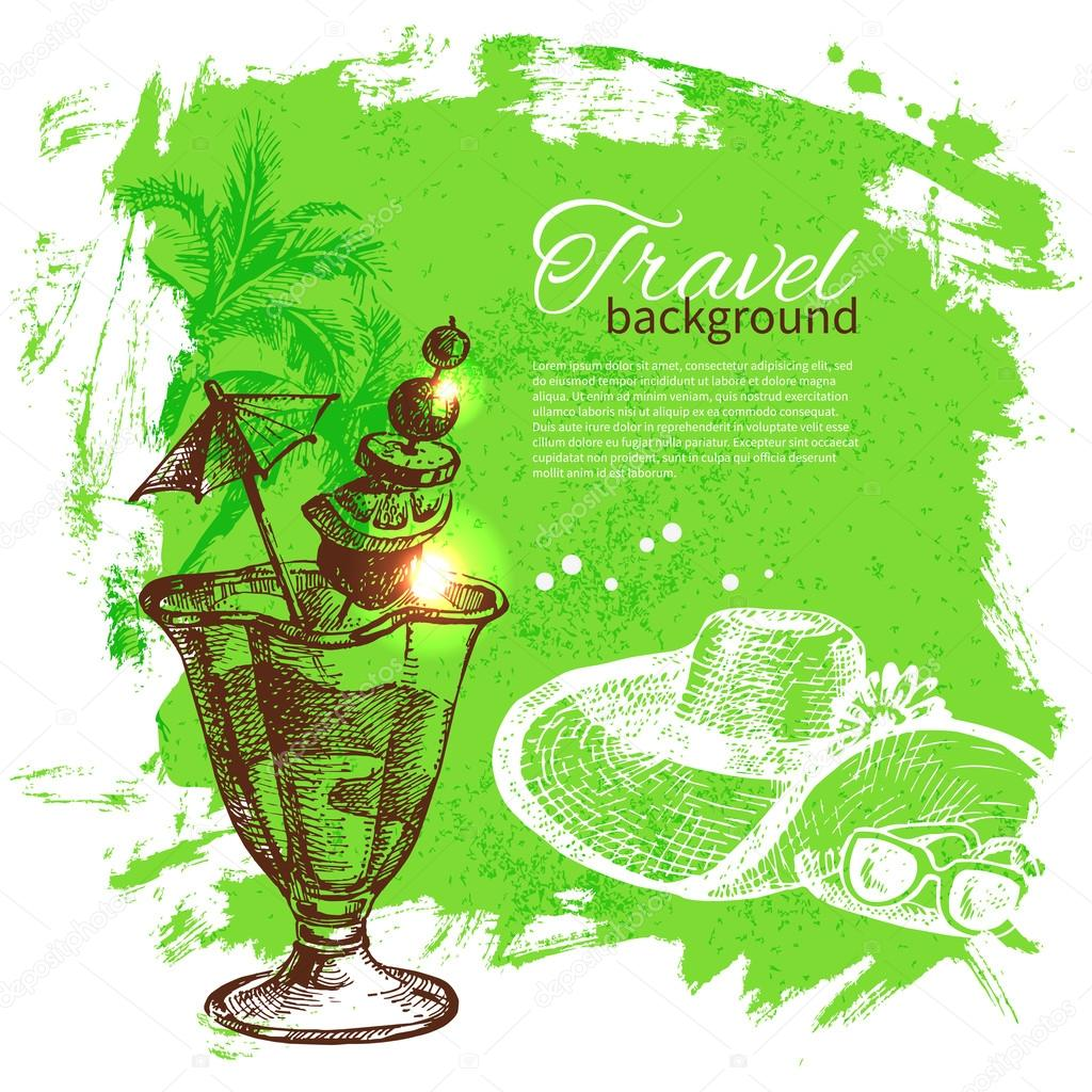 Set travel and holiday on green background