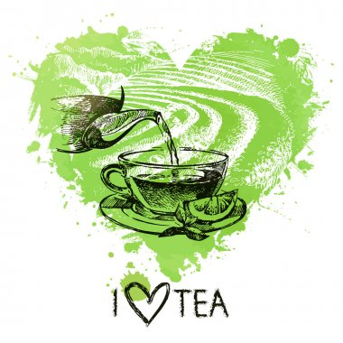 Tea background with splash watercolor heart and sketch