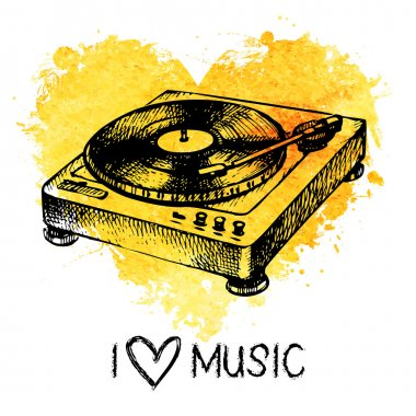 Music background with splash watercolor heart and turntable
