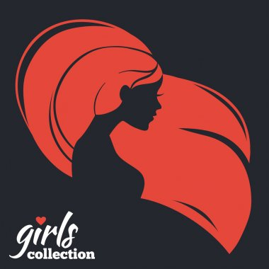 Beautiful woman silhouette. Girls collection clip art vector