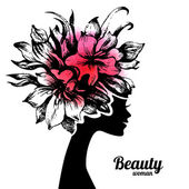 Fényképek Gyönyörű nő sziluett, virágok