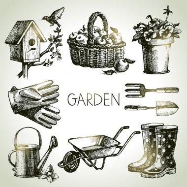 Sketch gardening set. Hand drawn design elements