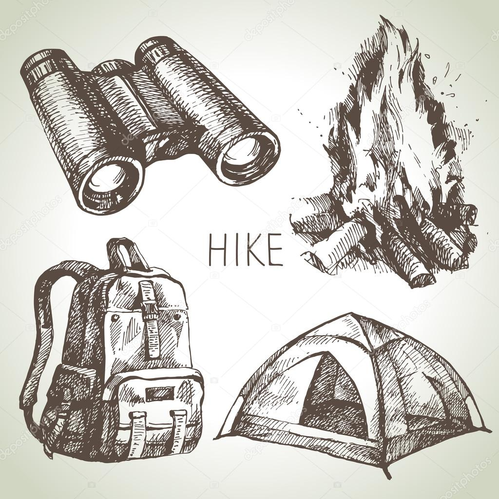 Hike and camping tourism hand drawn set