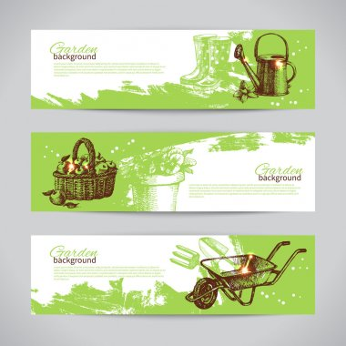Set of sketch gardening banner templates
